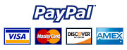 Payment Options - Visa, Mastercard, Discover, Amex, Paypal